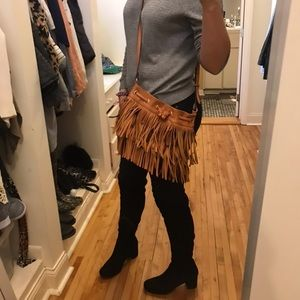 Sole society camel brown fringe crossover purse
